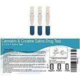 3x (2en 1) Saliva test- de drogas Cannabis y cocaína drogas Kit de prueba de exploración
