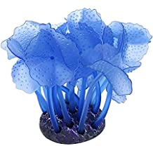 niceEshop(TM) Planta Coral Artificial para la Decoración del Acuario Adorno de Silicona Segura, Azul