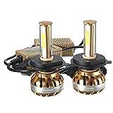 Ourmall H4 LED Scheinwerfer-Set,2 Stück, 120W 6000K 12000Lumen, COB LED Leuchtmittel für KFZ-Lampe, goldfarben