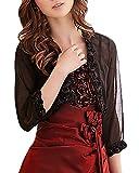 Damen Bolero Für Abendkleid Festlich Elegant 3 4 Arm Corsage Zu Abendkleid Vintage Chiffon Transparent Bolerojacke Hochzeitsjacke Abendjäckchen Große Größen