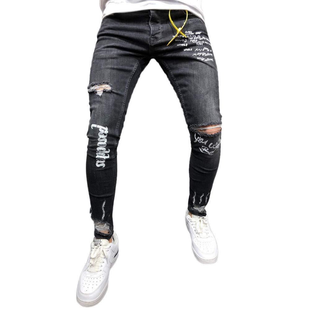 reunirse f61ec 2758c Pantalones Vaqueros Rotos Hombre Jeans Pantalones Vaqueros Elásticos Skinny  Slim Fit Delgados,Hombres Negro Elástico Pie Agujeros Impresión Carta ...