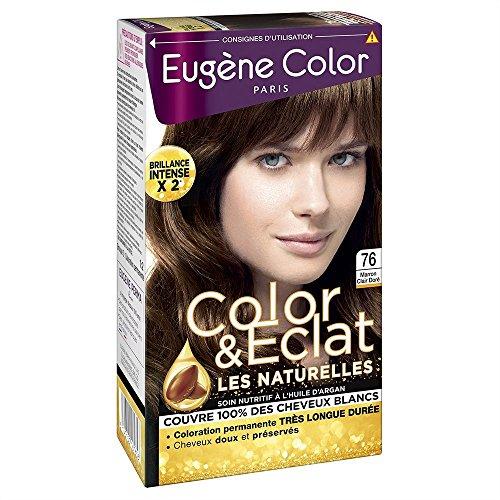 Eugène Color -Color & Eclat - N°76 Marron Clair Doré - Crème Colorante Permanente - Lot de 2