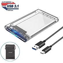 ELUTENG Case Hard disk Esterno USB C 2.5 Pollici Trasparente Adattatore SATA USB 3.1 per 7 & 9.5 mm 2,5 HDD/SSD Alloggiamento per disco rigido