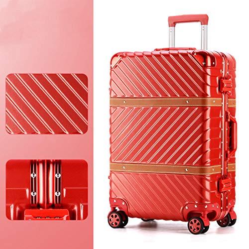 Retro Twill Koffer Aluminiumrahmen Trolley Universal Rad Passwort Box Box Twill festlich red_26 Zoll