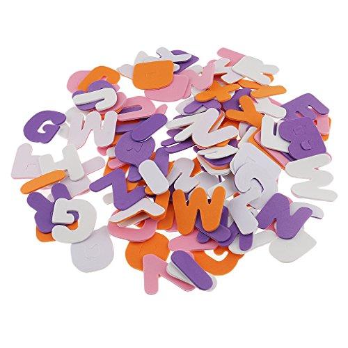 Fenteer 150er Set Schaumstoff Sticker Selbstklebendes Buchstaben Herz Sterne Schaum Aufkleber Nummer Zahlen Dekorativer Aufkleber für DIY Handwerk Basteln - Buchstaben