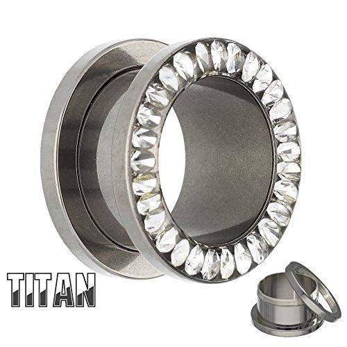 Treuheld   Kristall Flesh Tunnel in Silber aus -