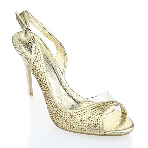 Aarz signore delle donne del partito di sera cerimonia nuziale dell'alto tallone punta aperta Diamante sandali da sposa Formato dei pattini (Oro, Argento, Champagne, Rosso, Nero)