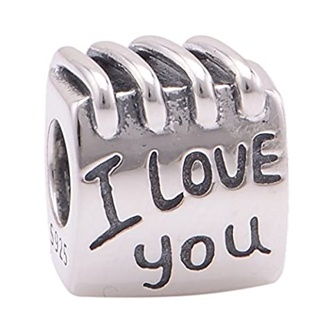 Everbling I Love You Coil Book 925 Sterling Silver Bead Fits Pandora Charm Bracelet