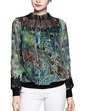 La Camisa De La Gasa Fina De La Impresión Floral Del Collar Del Cordón De La Manera Del Verano De Las Mujeres