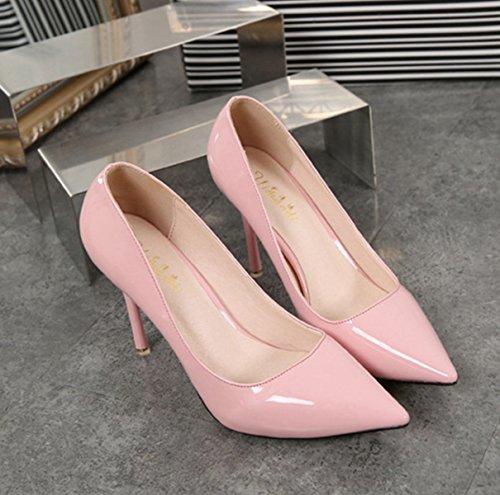 Damen Pumps Lackleder Spitz Zehen Geschlossen Einfach Klassisch Slip on Elegant OL Büro Freizeit Stiletto Pink