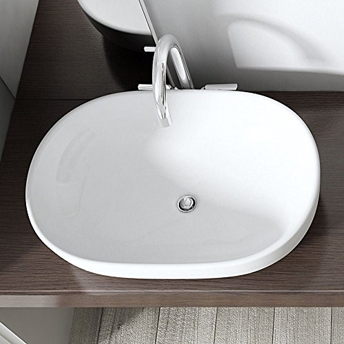 Durovin Oval Bathroom Sink Ceramic Counter Top Wash Basin Round Bowl Cloakroom 42 x 60 x 11 cm