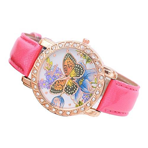 KiyomiQvQ Luxus Damen Uhren,Schön Schmetterling Blume Muster Armbanduhrn mit Diamant Grenze Zifferblatt Klassisch Lederband Quarz Uhren Blume Grenze