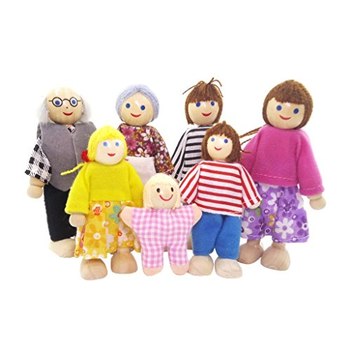 Sinto 7Pcs Muñecas de Madera Miembros de Familia Artesanal Juguete Regalo para Niños Bebé (A)