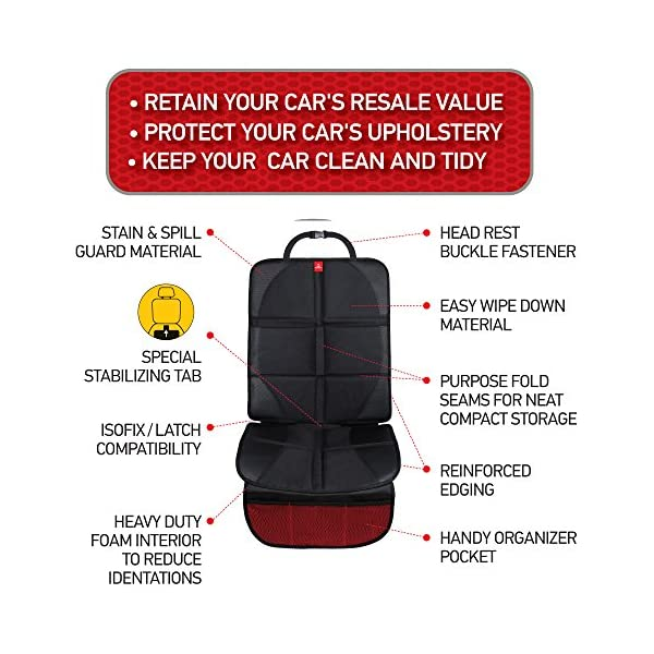 Royal Rascals Car Seat Protectors for Child Seats - Protects Upholstery from Stains & Damage with Padded Cover - Organiser Pockets - Universal & fits Isofix - Forward and Rear Facing Baby Seat Liner 2