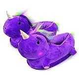 Queque Shine LED Einhorn Leuchtende Hausschuhe Erwachsene Kinder Schuhe Unicorn Plüsch Tier Pantoffeln Größe: EU 34-42 (EU 34-42, Lila)