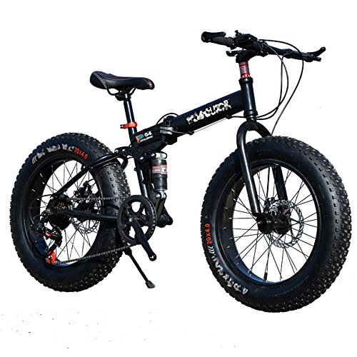 QXMEI Snow Bike Faltrad Radfahren 21 Speed ​​26 Zoll/Double Disc Brake Springer Gabel Aluminium Alloy Frame Hinten,Black-OneSize