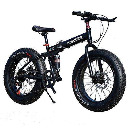 QXMEI Snow Bike Faltrad Radfahren 21 Speed 26 Zoll/Double Disc Brake Springer Gabel Aluminium Alloy Frame Hinten,Black-OneSize