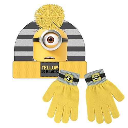 nder Winter Set, Beanie Mütze und Handschuhe, Pompon, Acryl, Eine Größe, Mehrfarbig, Ich – Einfach unverbesserlich (Minions Beanie)