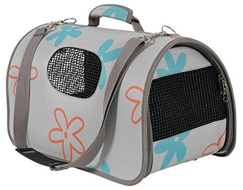 Katzentasche Hundetasche FLOWER Grau Größe L 26x50x28cm