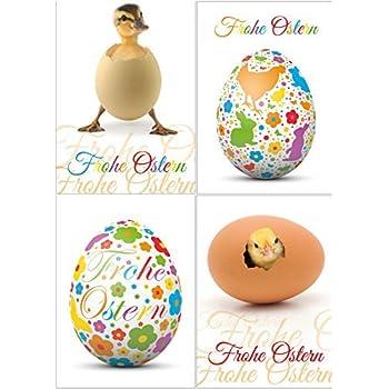 Lustiges Osterkarten-Set mit 24 Osterpostkarten (4 Motive á 6 St.), 15 x 10,5 cm gross (DIN A 6) von EDITION COLIBRI - witzige Grusskarten zu Ostern