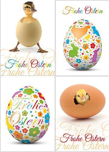 Lustiges Osterkarten-Set mit 24 Osterpostkarten (4 Motive á 6 St.), 15 x 10,5 cm gross (DIN A 6) von EDITION COLIBRI - witzige Grusskarten zu Ostern - Grußkarten Ostern