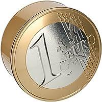 Scatola In Alluminio A Forma di 1 Euro 25 x 10 cm Porta Accessori Monete Cucito
