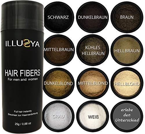 ILLUSYA Streuhaar/Schütthaar - Hair Fibers zur Haarverdichtung - Premium Qualität, in Sekunden volles Haar - 25g (Dunkelbraun) Dunkel Braun
