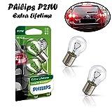 2x Philips EcoVision P21W 12V BA15s 12498LLECOB2 Extra Lifetime Weiß High Tech Ersatz Halogen Birne für Tagfahrlicht Rücklicht Bremslicht Hecklicht Blinker E-geprüft