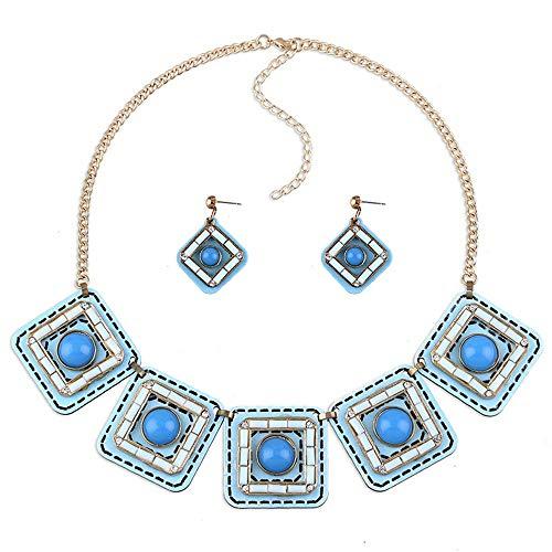 Halskette Frauen Kurzketten Schmuck Vintage Multicolor Quadratische Form Strass Harz Sparkly Halskette Ohrringe Anzug Großartig für den Alltag (Farbe : Blau)