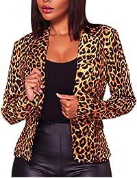 Fly Year-uk Womens Autumn Leopard Print One-Button Lapel Chic Blazer Jackets