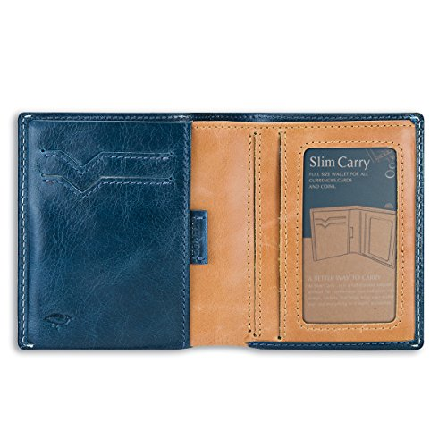 Slim Wallet, ikepod Slim Geldbörse Carry [Made in Italien//TOP Leder] [RFID-blockierender und Slim Nähte.] Blau blau (Haut-leder-bi-fold)