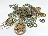 Efivs Arts 80pcs Antiqued Gears Wheels Skeleton Steampunk Clock Watch Gears Cog Wheel Pendant Charms, Assorted Colors for DIY Crafts, Jewelry Making, Steampunk Charms by Efivs Arts