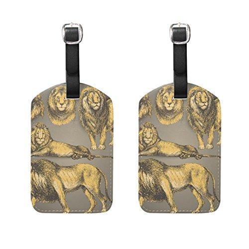 COOSUN Handgezeichnete Lion Wild Cat Set Gepäckanhänger Reise Etiketten Tag Name Kartenhalter für Gepäck Koffer Tasche Rucksäcke, 2 STÜCKE (2 Leder-gepäck-set Stück)
