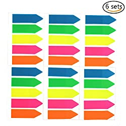 Suxidi 6 Sets Colored Index Tabs Flags Sticky Notes For Page Marker, 600 Pieces