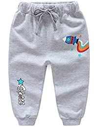 Hopscotch Unisex Cotton Text Print Elasticated Joggers in Gray Color