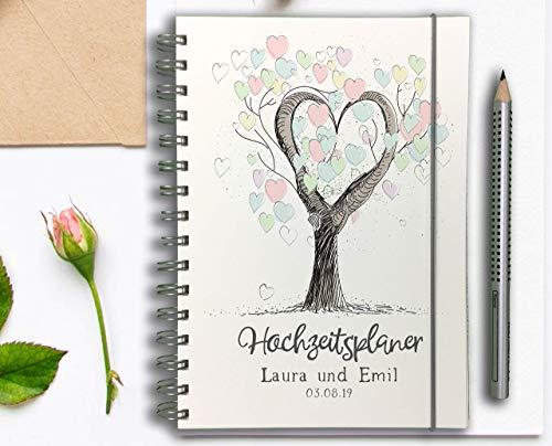 Hochzeitsplaner Hochzeitscheckliste - Deutsch - Wedding planer PERSONALISIERT Baum der Liebe - Ausgelöst Blatt