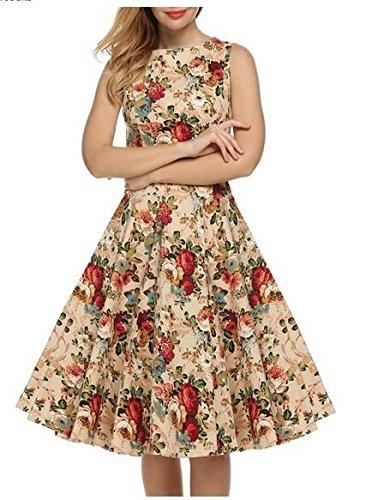 Babyonlinedress Robe de soirée/Cocktail Courte Rétro Vintage année 1950 sans Manches avec Ceinture, Style Audrey Hepburn Rockabilly Swing Rose