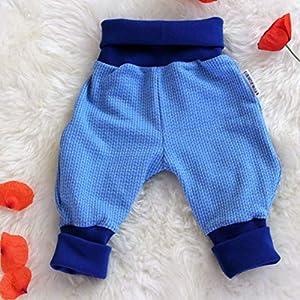 Baby Pumphose Schlupfhose newborn Gr. 56-68 Strickoptik blau