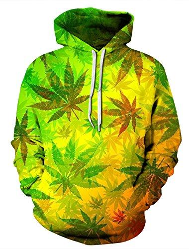 Leapparel 3D Cool Kapuzen Pullover Sweatshirt Top für Männer und Frauen mit Warm Hoody Lustige Grafik gedruckt Jacke Gelb Weed L/XL