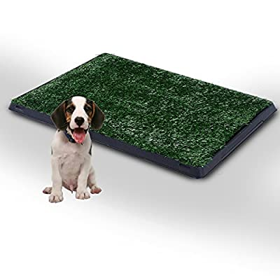 PawHut Indoor Dog Toilet Puppy Cat Pet Training Mat Potty Tray Grass Restroom Portable (51L x 64W x 3T (cm))
