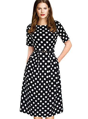 VfEmage Womens Vintage Belted Wear to Work Casual Fit and Flare A-line Dress