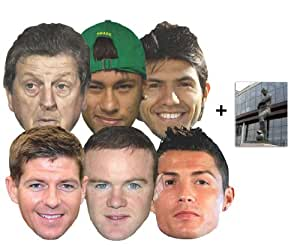Mask Pack - World Football Tournament Cup Players card Face Mask Pack of 6 (Hodgson, Rooney, Gerrard, Neymar, Aguero & Ronaldo) Brazil 2014 - includes 6x4 inch (15cm x 10cm) Star Photo