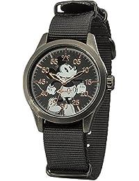 Disney by Ingersoll DIN008BKBK - Reloj de cuarzo infantil, con correa de nailon, color negro con diseño de Mickey