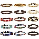 Milacolato 15 Pcs Männer Lederarmbänder Hanf Cords Holzperlen Ethnische Tribal Armbänder Leder Armbänder