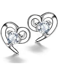 F.ZENI Ohrringe Damen Silber Zirkonia Ohrringe Schmuck 925 Sterling Silber Ohrringe für Damen