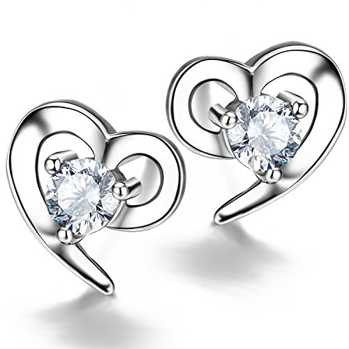 F.ZENI Ohrringe Silber Damen 925 Sterling Silber ohrstecker Liebe Herz Zirkonia Ohrringe für Damen (Herz Paket)