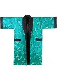 Japanischer Wende-Kimono Satin Morgenmantel für Damen & Herren mit Drachen-Stickerei