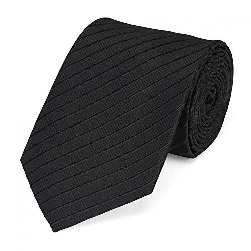 Edle Fabio Farini Krawatte, 8 cm in verschiedenen Farben, Schwarz gestreift (Krawatte Schwarze Seide)