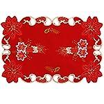 Centrotavola natalizio con campane, candele e poinsezia ricamate, misure: 38,1x 172,7cm
