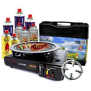 Gaskocher Campingkocher mit 8 Gaskartuschen Portable 2,5 KW + Grillaufsatz Grillplatte + Phönix Gasherdkreuz + Koffer…
